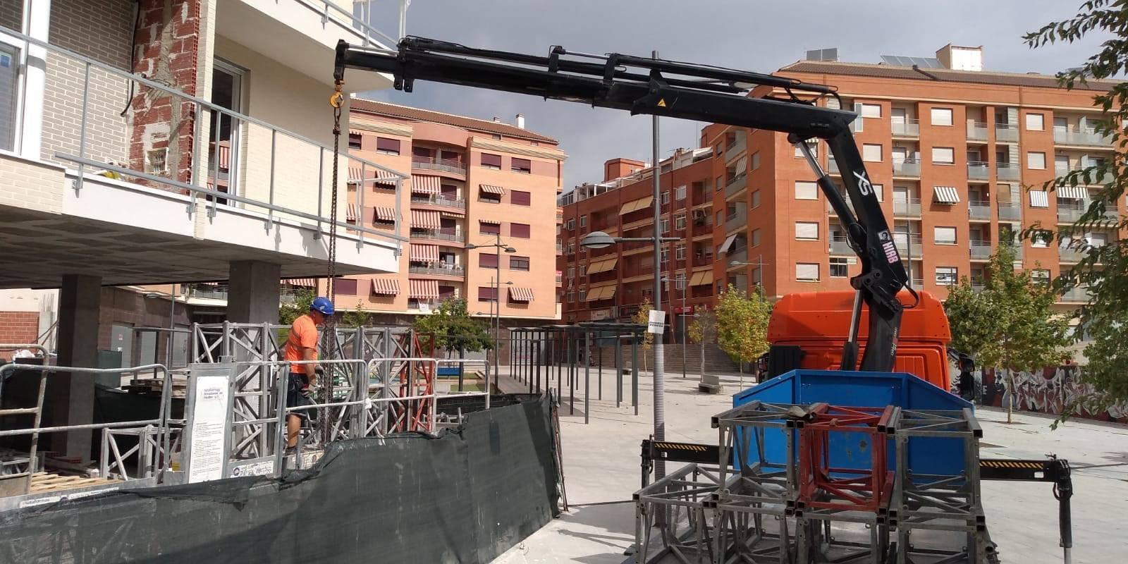 Desmontaje de andamio bimastil en Ibi Alicante